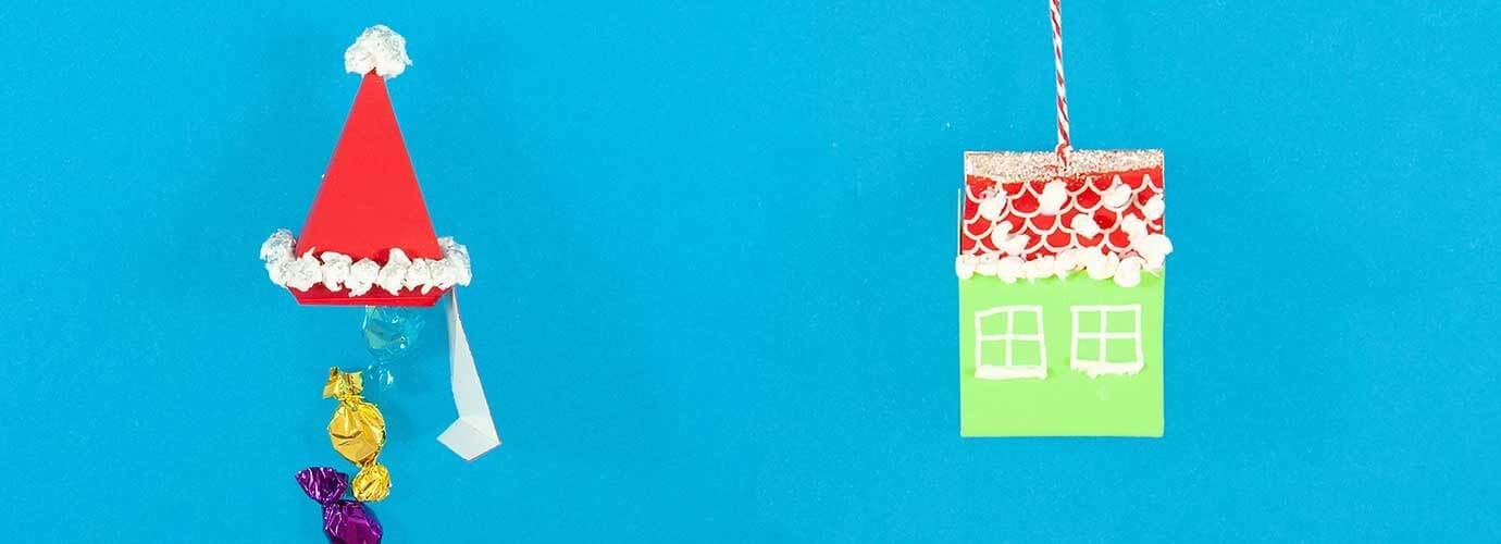 Idées d'emballage cadeaux fabriqués à partir de carton et de mouchoirs sous la forme de chapeau de père Noël et d'une maison de fête