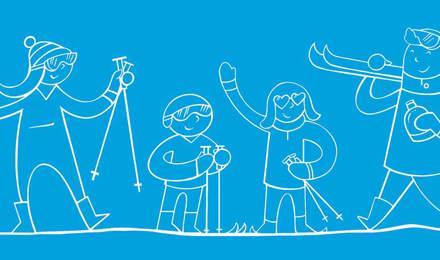 Famille qui skie ensemble avec du matériel de ski
