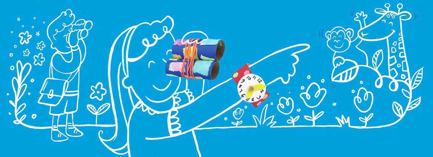 Piirretyt lapset pitävät hauskaa 5-vuotiaille tarkoitettujen aktiviteettien avulla ja leikkivät kotitekoisilla, maalatusta pahvista valmistetuilla lelukiikareilla ja lelukellolla