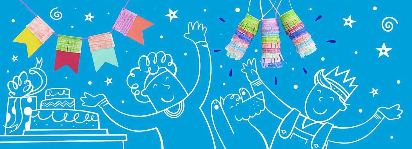 Piirretyt lapset ja koira leikkimässä kotitekoisten syntymäpäiväjuhlien koristeiden alla