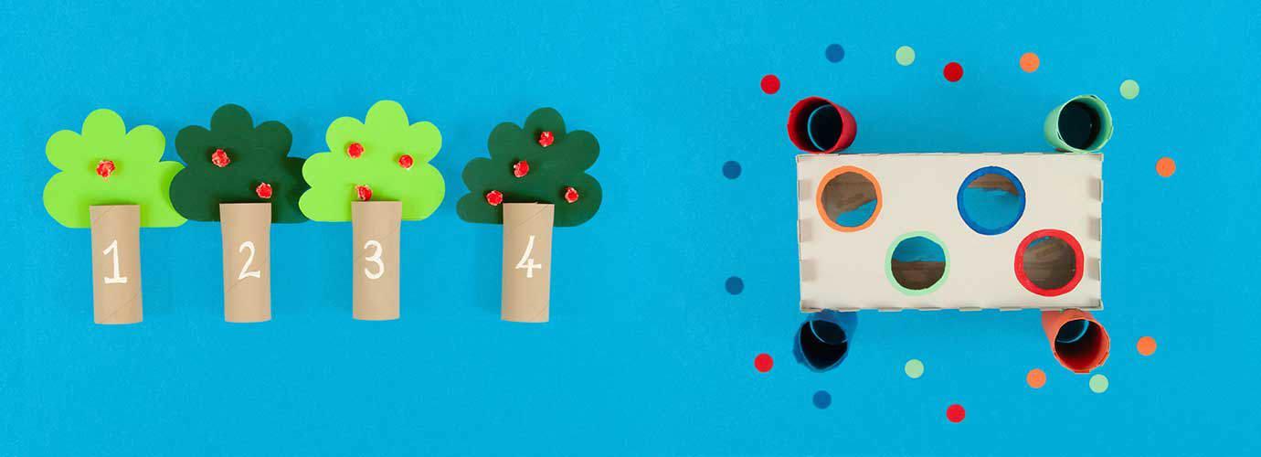 Jeux pour développer les habiletés motrices fabriqués à partir de tubes de rouleau de toilette vide et une boîte de mouchoirs