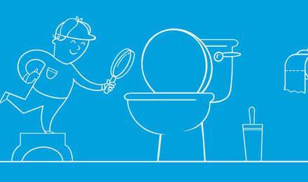 Piirretty poika on pukeutunut etsiväksi ja tarkastelee vessanpönttöä suurennuslasin avulla