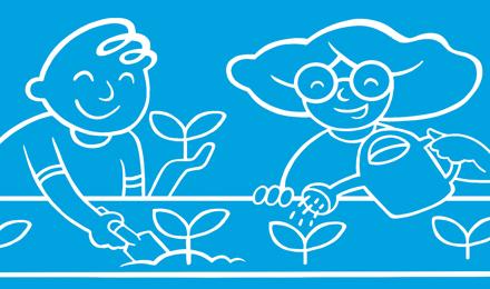 Enfants qui arrosent les plantes du jardin