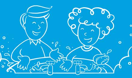 Kuvitettu mies ja nainen pesivät kätensä pesuallas