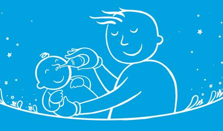 Kuvitettu isä, joka pitää vauvaa ja puhaltaa vauvan nenää sipuliruiskulla